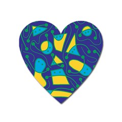 Playful abstract art - blue and yellow Heart Magnet
