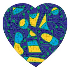 Playful abstract art - blue and yellow Jigsaw Puzzle (Heart)
