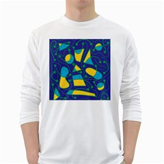 Playful abstract art - blue and yellow White Long Sleeve T-Shirts