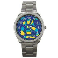 Playful abstract art - blue and yellow Sport Metal Watch