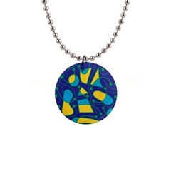 Playful abstract art - blue and yellow Button Necklaces