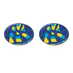 Playful abstract art - blue and yellow Cufflinks (Oval)
