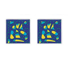 Playful abstract art - blue and yellow Cufflinks (Square)