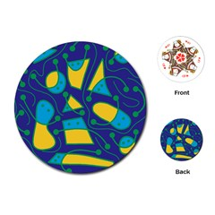 Playful abstract art - blue and yellow Playing Cards (Round)