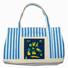Playful abstract art - blue and yellow Striped Blue Tote Bag