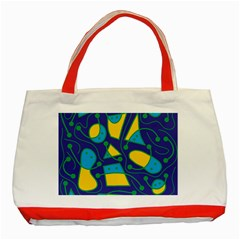 Playful abstract art - blue and yellow Classic Tote Bag (Red)