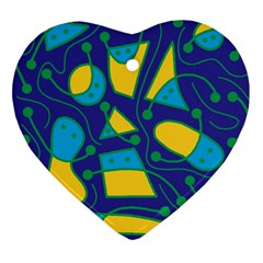 Playful abstract art - blue and yellow Heart Ornament (2 Sides)