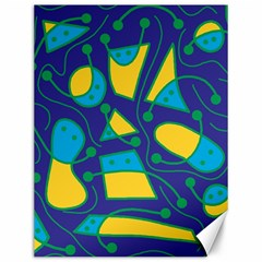 Playful abstract art - blue and yellow Canvas 12  x 16