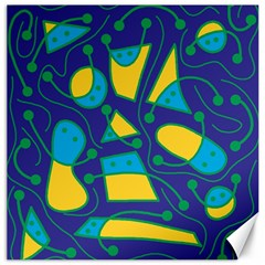 Playful abstract art - blue and yellow Canvas 20  x 20