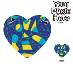 Playful abstract art - blue and yellow Playing Cards 54 (Heart)