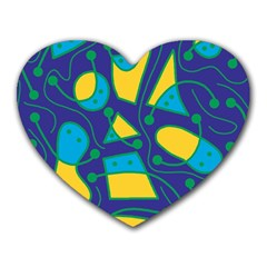 Playful abstract art - blue and yellow Heart Mousepads