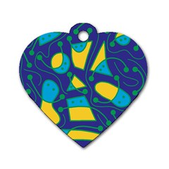 Playful abstract art - blue and yellow Dog Tag Heart (One Side)