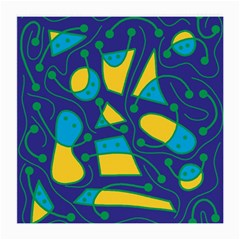 Playful abstract art - blue and yellow Medium Glasses Cloth