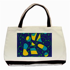Playful abstract art - blue and yellow Basic Tote Bag (Two Sides)