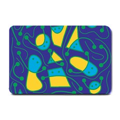 Playful abstract art - blue and yellow Small Doormat
