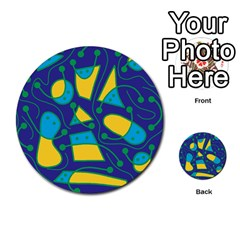 Playful abstract art - blue and yellow Multi-purpose Cards (Round)