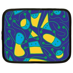 Playful abstract art - blue and yellow Netbook Case (Large)