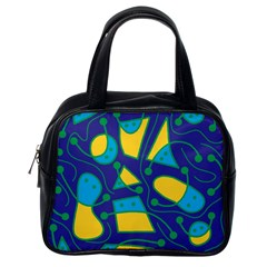 Playful abstract art - blue and yellow Classic Handbags (One Side)