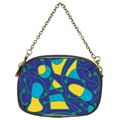 Playful Abstract Art   Blue And Yellow Chain Purses (one Side)