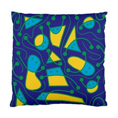 Playful abstract art - blue and yellow Standard Cushion Case (One Side)