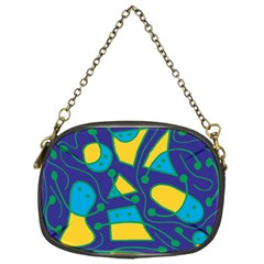 Playful abstract art - blue and yellow Chain Purses (Two Sides)