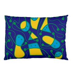 Playful abstract art - blue and yellow Pillow Case