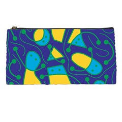 Playful abstract art - blue and yellow Pencil Cases