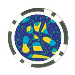Playful abstract art - blue and yellow Poker Chip Card Guards (10 pack)