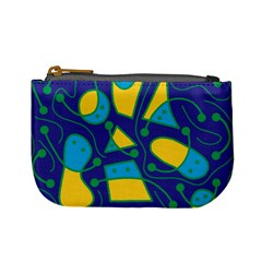 Playful abstract art - blue and yellow Mini Coin Purses