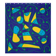Playful abstract art - blue and yellow Shower Curtain 66  x 72  (Large)