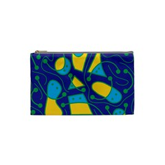 Playful abstract art - blue and yellow Cosmetic Bag (Small)