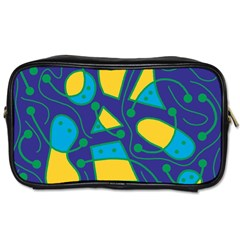 Playful abstract art - blue and yellow Toiletries Bags
