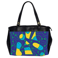 Playful abstract art - blue and yellow Office Handbags (2 Sides)
