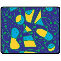 Playful abstract art - blue and yellow Fleece Blanket (Medium)