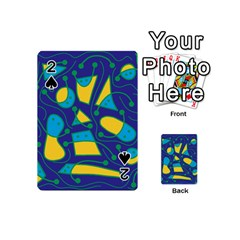 Playful abstract art - blue and yellow Playing Cards 54 (Mini)