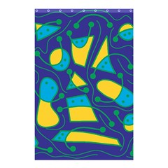 Playful abstract art - blue and yellow Shower Curtain 48  x 72  (Small)
