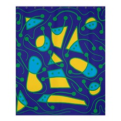 Playful abstract art - blue and yellow Shower Curtain 60  x 72  (Medium)
