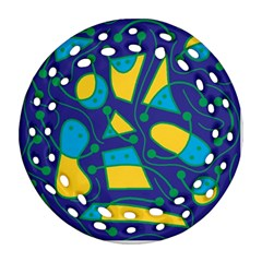 Playful abstract art - blue and yellow Round Filigree Ornament (2Side)