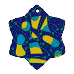 Playful abstract art - blue and yellow Snowflake Ornament (2-Side)