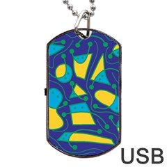 Playful abstract art - blue and yellow Dog Tag USB Flash (Two Sides)