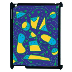 Playful abstract art - blue and yellow Apple iPad 2 Case (Black)