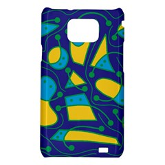 Playful abstract art - blue and yellow Samsung Galaxy S2 i9100 Hardshell Case
