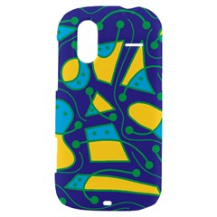 Playful abstract art - blue and yellow HTC Amaze 4G Hardshell Case