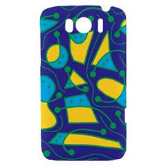 Playful abstract art - blue and yellow HTC Sensation XL Hardshell Case