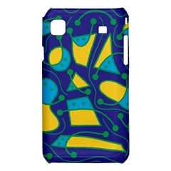 Playful abstract art - blue and yellow Samsung Galaxy S i9008 Hardshell Case