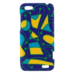 Playful abstract art - blue and yellow HTC One V Hardshell Case