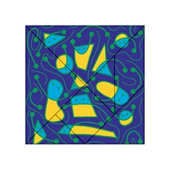 Playful abstract art - blue and yellow Acrylic Tangram Puzzle (4  x 4 )
