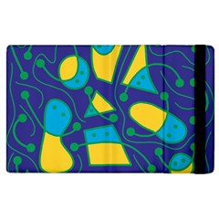 Playful abstract art - blue and yellow Apple iPad 3/4 Flip Case