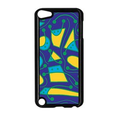 Playful abstract art - blue and yellow Apple iPod Touch 5 Case (Black)