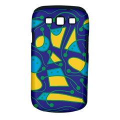Playful abstract art - blue and yellow Samsung Galaxy S III Classic Hardshell Case (PC+Silicone)